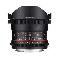 Samyang 12mm T3.1 VDSLR Fisheye - voor Canon EF