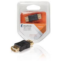 König USB A - USB A F/F Kabel adapter - Antraciet
