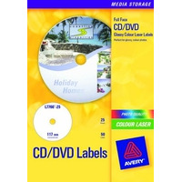 Avery CDten, Full size, Kleurenlaser, Hoogglanzend, Wit, 50pcs. Etiket