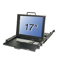 "Lindy rack console: KVM Terminal, 43.18 cm (17 "") LCD, Integrated 8 Port Modular KVM Switch, US layout - Zwart, QZERTY"