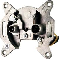 Schwaiger wandcontactdoos: 2 x IEC, 22 dB - Aluminium