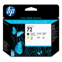 HP printkop: 72 - Zwart, Geel