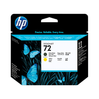 HP printkop: 72 matzwarte/gele DesignJet printkop - Mat Zwart, Geel