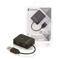 König hub: 4-poorts hub USB 2.0 reisuitvoering - Zwart