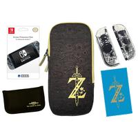 Hori portable game console case: Zelda Starter Kit, Nintendo Switch - Zwart, Bruin, Geel