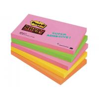 Post-it zelfklevend notitiepapier: Notitieblok Super Sticky 127x76 neon/pk5