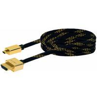 Schwaiger HDMI kabel: 1.5m HDMI - micro HDMI m/m - Zwart, Goud