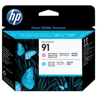 HP printkop: 91 licht-magenta en licht-cyaan printkop - Lichtyaan, Lichtmagenta