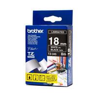 Brother labelprinter tape: Glans Laminat, 18mm x 8m, Wit/Zwart - Blauw