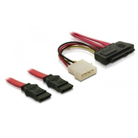 DeLOCK ATA kabel: Cable SAS 29pin > 2x SATA (SFF 8482 > 2x SATA + Power) - Rood