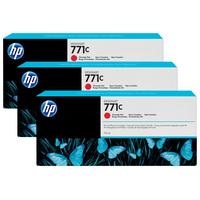 HP inktcartridge: 771C chromatisch rode DesignJet inktcartridges, 775 ml, 3-pack - Rood