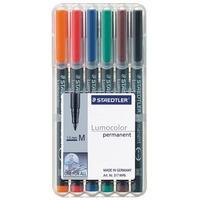 Staedtler Set of 6 colours in box, Line width M - medium ( 1.0 mm) Marker - Zwart, Transparant