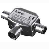Hama kabel adapter: Antenna Distributor Coaxial Female Jack - 2 Coaxial Male Plugs