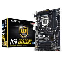 Gigabyte moederbord: Intel Z170 Chipset, 4 x DDR3 DIMM, HD Audio, USB 3.0, USB 2.0, TPM, serial port, parallel port, .....