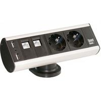 Kondator Smartline Desk 2 Power 2 Data 2 Usb Alublack 935d2du Kondator 935d2du kopen