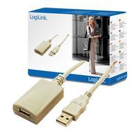LogiLink USB 2.0 Repeater, 5 m aktieve verlenging, Zwart