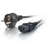 C2G Universal Power Cord - Power cable - IEC 320 EN 60320 C13 - CEE 7/7 (SCHUKO) (M) - 1 m - moulded - black - Europe
