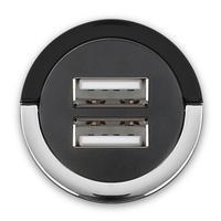 Cabstone oplader: High-Power Twin USB Car Charger, 2x USB, 4.0A - Zwart, Chroom