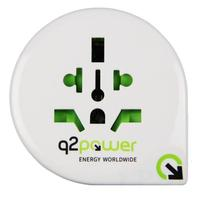 Q2-power stekker-adapter: Reisadapter - Groen, Grijs, Wit