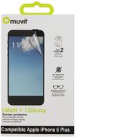 Muvit screen protector: 2 Films Anti Traces Doigt 1 Glossy, 1 Mat for Apple iPhone 6 Plus - Transparant