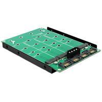 DeLOCK kabel adapter: 3.5″ Converter 4 x SATA 7 Pin > 4 x M.2 NGFF - Zwart, Groen