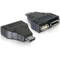 DeLOCK kabel adapter: Adapter Power-over-eSATA > 1x eSATA/1x USB - Zwart