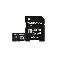 Transcend flashgeheugen: 4 GB microSDHC - Zwart