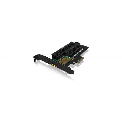 ICY BOX 2x M.2, SATA III, PCIe 3.0 x4, 32 Gbit/s (max) Interfaceadapter - Antraciet, Zwart