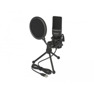 DeLOCK Condenser Microphone Set, USB 2.0, -47 dB, 16 Bit / 44.1 kHz, 150x45x35 mm Microfoon - Zwart