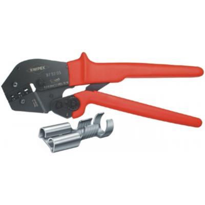 Knipex tang: Krimptangen ook te bedienen met twee handen, 4.8 + 6.3 mm, 0.5 - 6 mm2, AWG 20 - 10 - Zwart, Rood