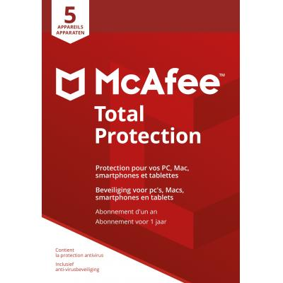 Mcafee algemene utilitie: Total Protection 2018, 5 Devices (Dutch / French)