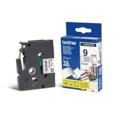Brother 9 mm zwart op witte tape gelamineerd (8 m) Labelprinter tape