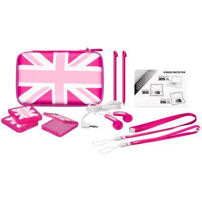 Bigben interactive spel accessoire: Nintendo 3DS XL accessoirepakket met Britse vlag - roze - Roze, Wit