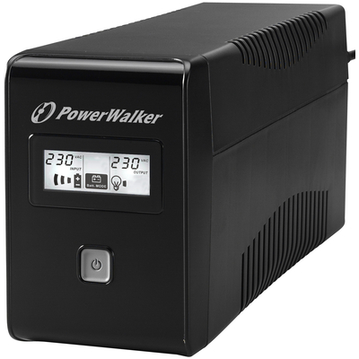 PowerWalker VI 850 LCD FR UPS - Zwart