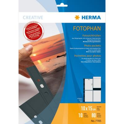 Herma showtas: Fotophan transparent photo pockets 10x15 cm portrait black 10 pcs. - Transparant