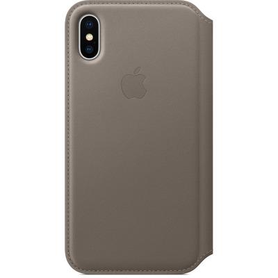 Apple mobile phone case: Leren Folio-hoesje voor iPhone X - Taupe
