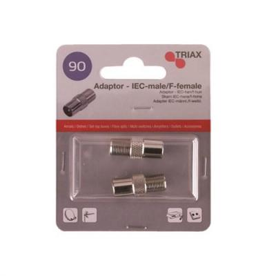 Triax coaxconnector: IEC-male to F-female adaptor, 2 pcs. blister