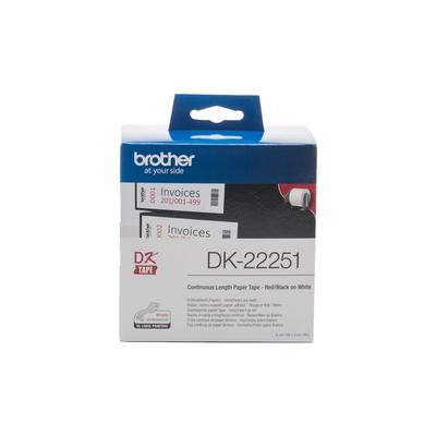 Brother DK Doorlopend tape: 62 mm - Thermisch papier – zwart/rood op wit Labelprinter tape - Zwart,Blauw,Wit