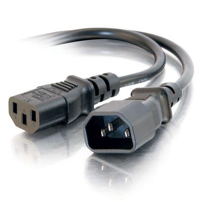 C2G 1,2 m 16AWG 250 Volt voeding-verlengkabel (IEC320 C13- IEC320 C14) Electriciteitssnoer - Zwart