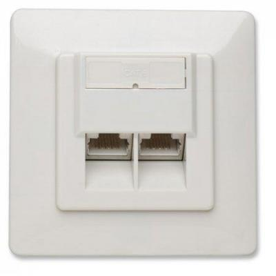 Intellinet wandcontactdoos: Flush Mount, 2-Port, FTP, Ivory - Ivoor