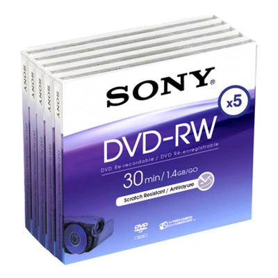 Sony 5DMW30A-BT - Blisterverpakking van vijf 8-cm herschrijfbare 1000x-DVD-RW-discs, DMW30A. DVD