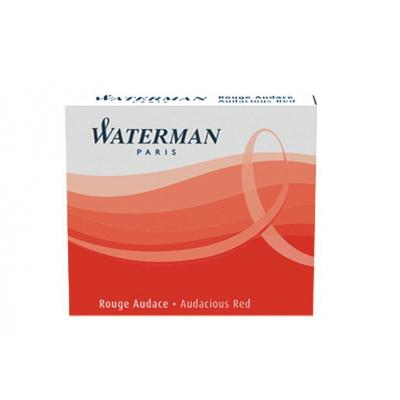 Waterman inkt: Short International Cartridge Audacious Red for Fountain Pen - Rood, Wit