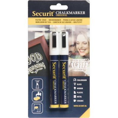 Securit markeerstift: Original Chalkmarker, medium 2-6mm - Zwart, Wit