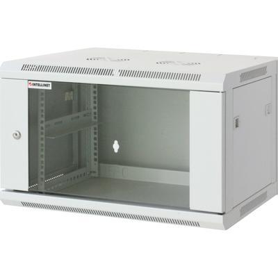 """Intellinet 19"""" Wallmount Cabinet, 6U, 370 (h) x 600 (w) x 450 (d) mm, Max 60kg, Assembled, Grey Rack - Grijs"""
