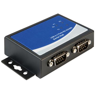 DeLOCK Adapter USB 2.0 to 2 x serial RS-422/485 Seriele converter/repeator/isolator - Zwart