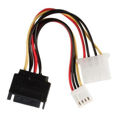 Valueline : Internal power adapter cable SATA 15-pin male - Molex female + FDD female 0.15 m multicolour - Zwart, Rood, .....