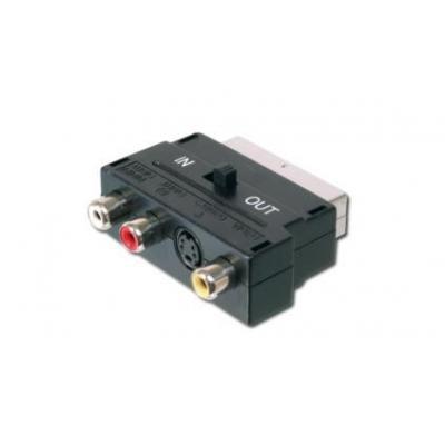 ASSMANN Electronic Scart 21pin - 3x RCA/SVHS Video switch - Zwart