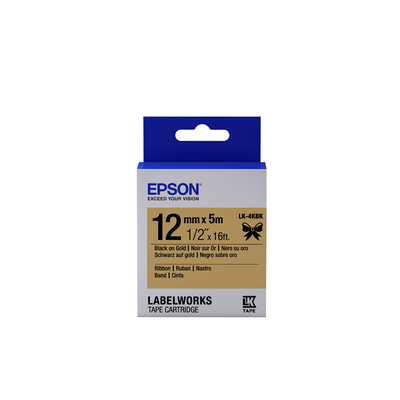 Epson Label Cartridge Satin Ribbon LK-4KBK, zwart/goud 12 mm (5 m) Labelprinter tape