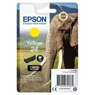 Epson inktcartridge: 24 inktcartridge geel standard capacity 4.6ml 360 pagina s 1-pack blister zonder alarm