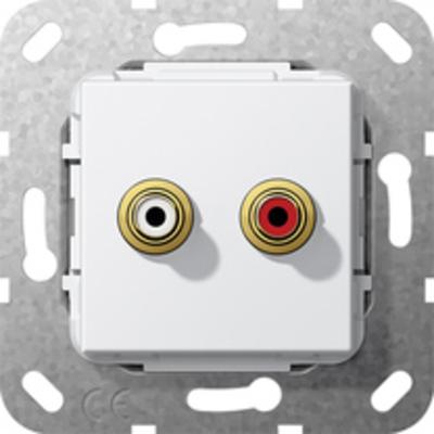 GIRA Basiselement cinch audio Koppeling, zuiver wit glanzend Wandcontactdoos